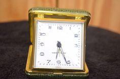 Vintage Westclox Folding Travel Alarm Clock Green Case