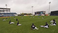 New York Yankees pitchers stretch during workouts