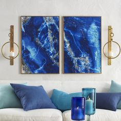 Lapis Lazuli Wall Art - Azure Colors would pop off of office wall and white laquer