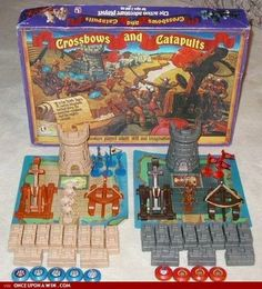 Crossbows and Catapults - I remember this being such a brilliant game. Dangerous too as the catapults flung plastic discs at some velocity Classic Board Games, Vintage Board Games, Retro Toys, Vintage Toys, Retro Games, Childhood Toys, Childhood Memories, Old School Toys, Catapult