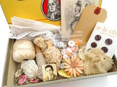 SURPRISE Box of Inspiration- Cigar Box- Vintage Sewing Notions/ Jewelry/ Postcards/ Lace/ Trim/ Doilies/ Fabric/ Buttons Grab Bag Create Art...