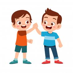 Cute happy kid doing hand shake with fri. Kids Cartoon Characters, Iconic Characters, Cartoon Kids, Cute Cartoon, Art Drawings For Kids, Art For Kids, Best Kids Cartoons, Cute Love Gif, Happy Kids