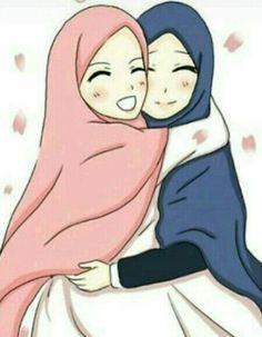 """Behind every trial and sorrow that He makes us shoulder, God has a reason. Friend Cartoon, Girl Cartoon, Cartoon Art, Best Friend Hug, Hugging Drawing, Friends Hugging, Islamic Cartoon, Islam Women, Hijab Cartoon"
