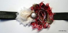 Red Peacock and Ivory Cream Christmas Headband  by LittleMeBling, $4.00