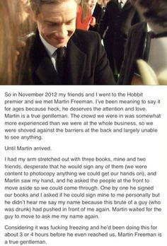 Martin Freeman! Sorry about the language...but a kind celebrity is indeed a thing to be treasured.