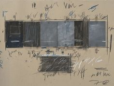 Cy Twombly, Untitled, 1970, Graphite pencil, colored pencil, oil, crayon, tape, printed and photographic paper, and plywood on cardboard. The Menil Collection, Houston; Gift of the artist. Photography by Paul Hester ©Cy Twombly Foundation