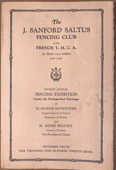 1927 J. Fencing Club, Presidents, Cover