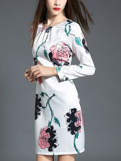 Fashion Flower Print Long Sleeve Dress_Long Sleeve Dress_DRESSES_Wholesale…