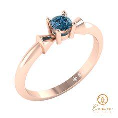 Inel de logodna din aur cu diamant albastru ES26 Aur, Sapphire, Teal, Engagement Rings, Jewelry, Enagement Rings, Wedding Rings, Jewlery, Bijoux