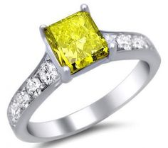 1.50ct Fancy Canary Yellow Cushion Cut Diamond Engagement Ring 14k White Gold