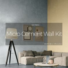 Microcement wall and floor kit offered by Impera Italia for a create durable contemporary design. Micro screed or beton cire look with an Italian finish Cement Color, Cement Walls, Polished Concrete, Polished Plaster, Surface Finish, Wet Rooms, Air, Contemporary Design, Micro Cement