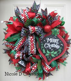 Christmas Deco Mesh Wreath, Merry Christmas Wreath, Holiday Wreath ...