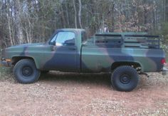 This is a 1984 m1008 cucv chevy military pick up truck. The civilian version of this truck is rated at 3/4 of a ton but the military version is rated at 1 and a quarter ton. These trucks have a dana 60 front axle and a dana 80 rear axle and the top speed for these trucks stock is 60mph max. These trucks also came with troop seats for 8 troops and can also have a cover installed over the bed. This particular truck has 34 inch super lug tires mounted on the original chevy rims.