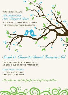 Whimsical Lovebird Wedding Invitation