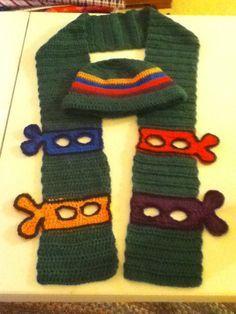 Ideas crochet kids scarf pattern free ninja turtles for 2019 Boy Crochet Patterns, Crochet Kids Scarf, Crochet For Boys, Crochet Scarves, Free Crochet, Hat Crochet, Crochet Children, Crochet Ninja Turtle, Crochet Gifts