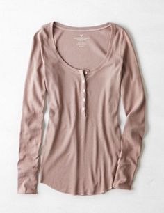 American Eagle Soft & Sexy Mauve Long Sleeve Ribbed Henley Shirt Size Small NWT #AmericanEagle #Henley #Casual