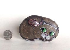 Hand Painted Natural Rock Cat with Mouse by qvistdesign on Etsy, $26.00