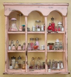 Bead storage use a collection of shakers on a pretty shelf Bead Organization, Bead Storage, Craft Room Storage, Jewellery Storage, Storage Shelves, Craft Rooms, Organizing Jewelry, Storage Units, Storage Ideas