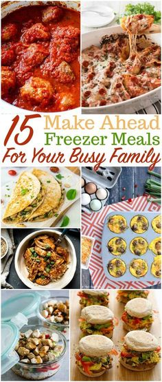 Easy freezer meals you can make ahead for breakfast, lunch and dinner Freezer meals | make ahead meals | menu planning | meal planning | Freezer cooking #freezermeals #makeaheadmeals #easydinenrs #quickbreakfast #schoollunch