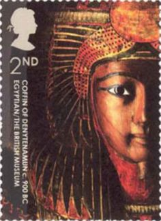 Coffin of Denytenamun, Egyptian, ca.900 BC. 2nd class stamp by Rose Design commemorating the 250th Anniversary of the British Museum, October 7, 2003 http://www.norphil.co.uk/2003/museum.htm