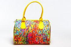 Bright Yellow Summer Handbag with Flower Print, Women Fashion Handbag, Unique Designer Handbag, Fabric Barrel Handbag with Top Handles, 5037 by MyBrightBag on Etsy