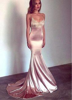 Charmeuse Spaghetti Straps Mermaid Prom Dress