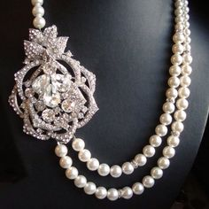 Pearl and Crystal Necklace Bridal Jewlery Rhinestone by luxedeluxe, $118.00