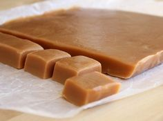 Homemade Soft Caramels Recipe 1 clight corn syrup 2 cpacked light brown sugar 1 can(s)sweetened condensed milk 1/2 lbbutter  Boil for 20 minutes over medium heat, stirring constantly. Lay out on cookie sheet and cut when cooled.