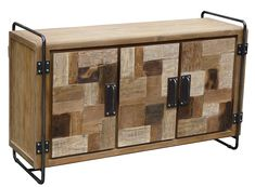 Art Deco infused style makes this cabinet / TV stand eco friendly without sacrificing style!  Only at Chic Teak! #teak #recycledteak #furniture #tvstand #chest #cabinet #homedecor #woodfurniture #recycledwood