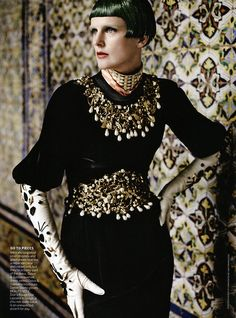 Stella Tennant in Dolce & Gabbana dress, photographed by Mario Testino for Vogue US September 2012.