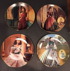 Gone with the Wind Set Of 4 Collectors Plates Featuring Scarlet #BradfordExchange