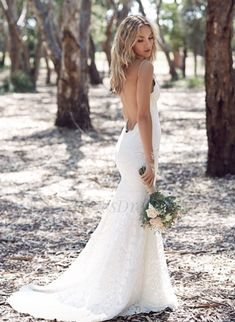 Trumpet/Mermaid V-neck Sweep Train Lace Wedding Dress (0025060351) - Vbridal