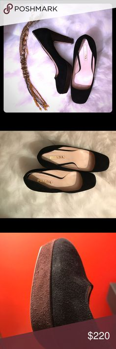 Authentic PRADA Black n Brown Suede Platform Shoes Auth PRADA. Black Suede with brown Suede platform and brown heels. EU size 40. Brand New. Never Worn. Made in Italy. Chic💕. Classy💕. Stylish💕. Definitely a statement shoe. Prada Shoes