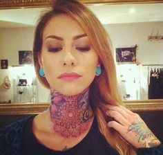 Tattooed lady - cool tattoos on the neck and on the hand. #tattoo #tattoos #ink #inked