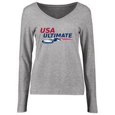 USA Ultimate Women's Logo Slim Fit Long Sleeve T-Shirt - Ash