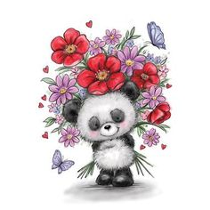 Wild Rose Studio - Clear Stamps - Panda with flowers