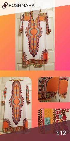 Tribal Print Dress Orange Tribal print dress.  Lightweight material.  Shorts splits on both sides.  EUC.  Offers welcome.  Bundle and save.  Smoke/Pet Free Home   Thank you for stopping by my closet.  Let me  know if you have any questions.  🎵🎢♥️ Dresses Midi