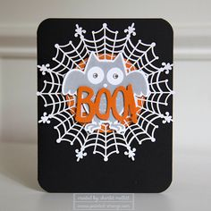 Halloween BOO owl card using the Howl-o-ween treats stamp set from Stampin' Up! - Painted Orange