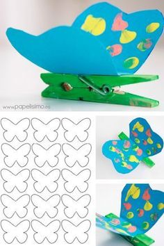 Butterfly Clothespins with Templates Summer Crafts, Diy And Crafts, Arts And Crafts, Preschool Crafts, Easter Crafts, Diy For Kids, Crafts For Kids, Insect Crafts, Butterfly Crafts