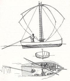 Bateau carrelet dessiné par Jean Le bot dans « Bateaux des côtes de Bretagne…
