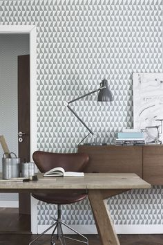 This funky wallpaper adds so much personality to the room. What do you think?  #Decor #Office #Desk