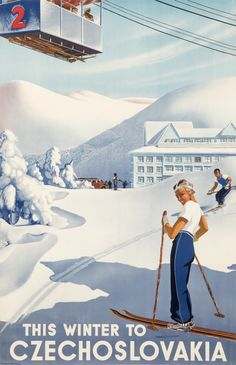 This Winter to Czechoslovakia, 1930 ca. | One of the most sought-after collectibles today, ski posters capture the joy of fresh mountain air and the exhilaration of a downhill run through tree-lined glades. Combining travel, sports, and fashion, the ski and other wintersport posters have become a blue-chip category around the world over the last fifteen years. Learn more at http://www.internationalposter.com/about-poster-art/subject-primers/ski-posters.aspx