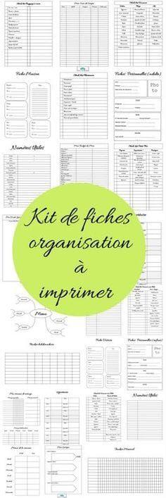 Kit de fiches pour s organiser à imprimer - Mon carnet déco, DIY, organisation, idées rangement.