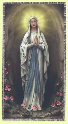 Our Lady of Lourdes Blessed Mother Mary, Blessed Virgin Mary, Catholic Art, Religious Art, Religious Icons, Virgin Mary Art, La Salette, Image Jesus, Images Of Mary