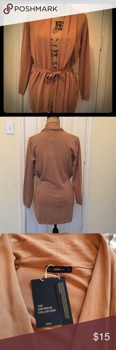 NWT Zara Camel Cardigan Sz S Zara Knitwear Collection. Tie-front cardigan with rolled collar Zara Sweaters Cardigans