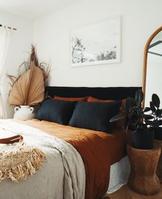 Black and Ochre French Linen Bed Sheets making the perfect colour scheme for any bedroom. Simple and slow living. Bedroom Inspo, Home Bedroom, Bedroom Decor, Autumn Decor Bedroom, Ochre Bedroom, Bedroom Inspiration, Interior Inspiration, Casa Soho, Linen Bed Sheets