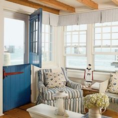 I really like that Dutch door and the blue is great!