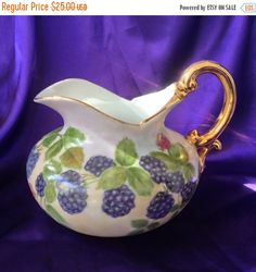 Hand Painted Ewer Pitcher Blackberries Gold by VisualaromasVintage