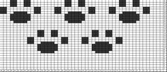 Tricksy Knitter Charts: Paw prints by Crochet Bookmark Pattern, Crochet Bookmarks, Crochet Chart, Filet Crochet, Knit Crochet, Animal Knitting Patterns, Knitting Charts, Crochet Patterns, Graph Design