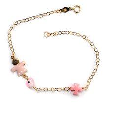 Παιδικό  βραχιόλι κοριτσάκι χρυσό Κ14 Jewels, Bracelets, Jewerly, Bracelet, Gemstones, Fine Jewelry, Gem, Arm Bracelets, Bangle